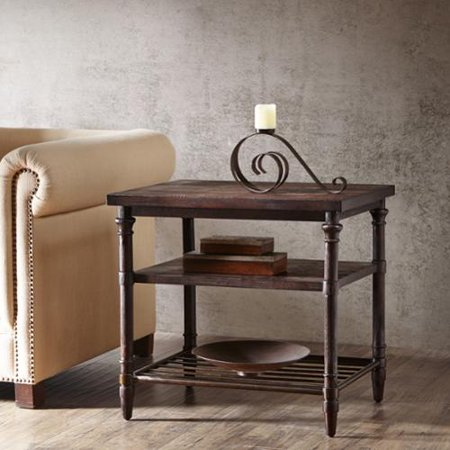 28 inch renate end table in coffee brown with rack for Coffee tables 16 inches high
