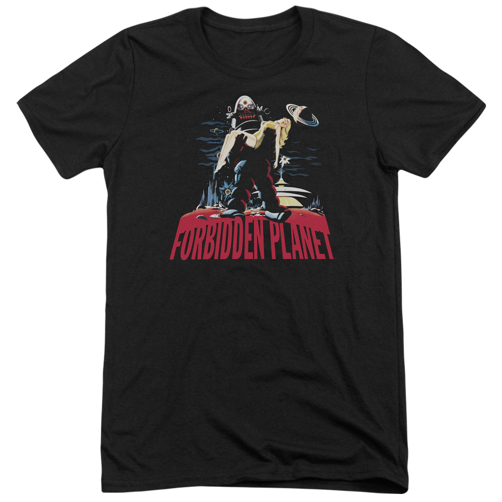 Forbidden Planet Robby And Woman Mens Tri-Blend Short Sleeve Shirt