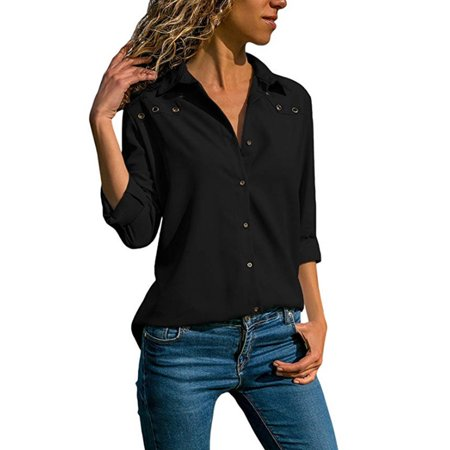 Womens Long Sleeve Blouse Button Casual Tops Ladies V Neck OL Office Work (White Long Sleeve V Neck Crop Top)