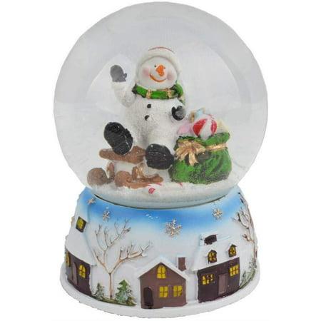 Elegantoss Musical Christmas Snowman Snow Globe with Falling Snowflakes & Music Playing ()