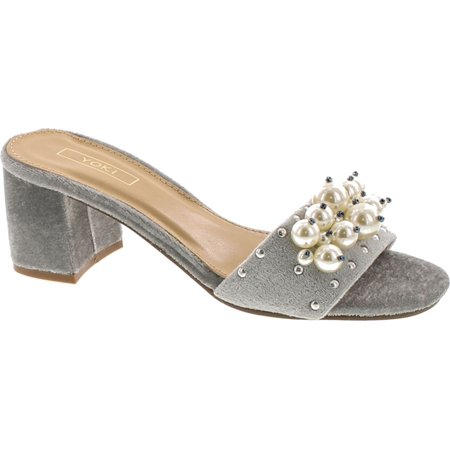Yoki Delano-18 Womens Pearl Slide Slip On Block Heel Mule Sandal