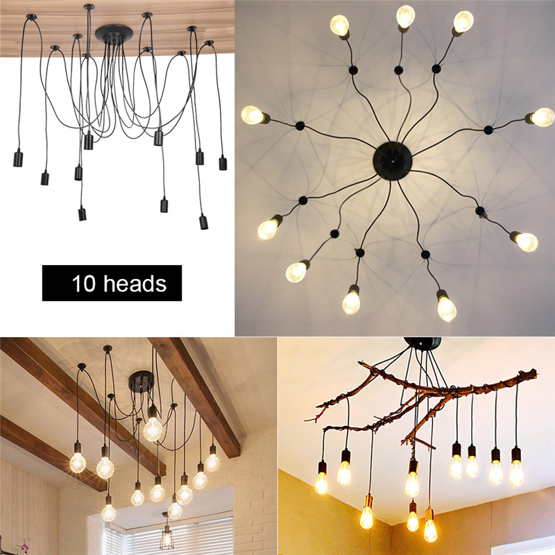 WALFRONT DIY Vintage Style Pendant Light Holder Industrial Vintage Style Spider Ceiling Lamp Hanger Fixtures fit for E27 bulb 10 Head 2m Cable