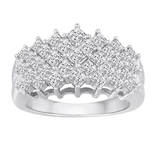 10k White Gold 2ct TDW Diamond 5-row Ring (H-I, I2-I3) Size 9