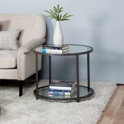 """Studio Designs Home Camber 2-Tier Modern 26"""" Round End/SideTable in Pewter"""