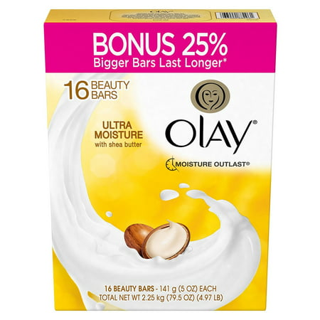 Olay Ultra Moisture with Shea Butter Beauty Bars, 16 Count, 5 Oz