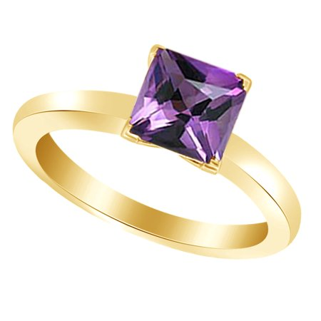 Princess-Cut Simulated Purple Amethyst February Birthstone Solitaire Ring In 14K Yellow Gold Over Sterling Silver (2.5