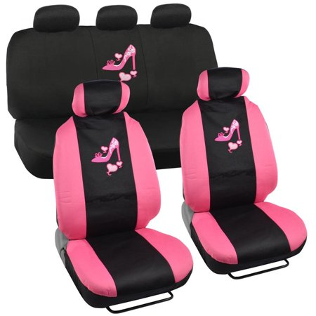 Lady High Heel Shoe Seat Covers for Car w/ Triple Pink Hearts Auto Accessories Interior Car Truck SUV Combo Kit Gift Set - 9PC