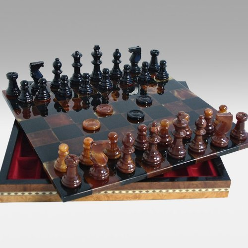 Black and Brown Alabaster Chess and Checkers in Inlaid Wood Chest