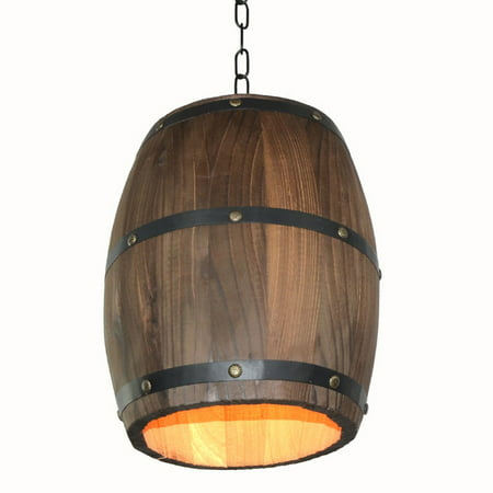 Creative Retro Distinctive Wood Wine Barrel Hanging Fixture Ceiling Pendant Decoration Lamp Lighting Bar Restaurant Cafe Light ()