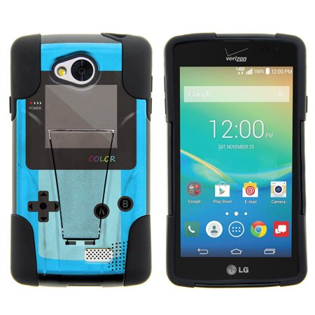 Lg Tribute  Lg Transpyre And Lg Optimus F60 Strike Impact Dual Layered Shock Resistant Case With Built In Kickstand By Miniturtle    Blue Gameboy