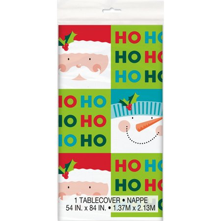 Holly Santa Christmas Plastic Tablecloth, 84 x 54 in, 1ct - Christmas Plastic Tablecloths