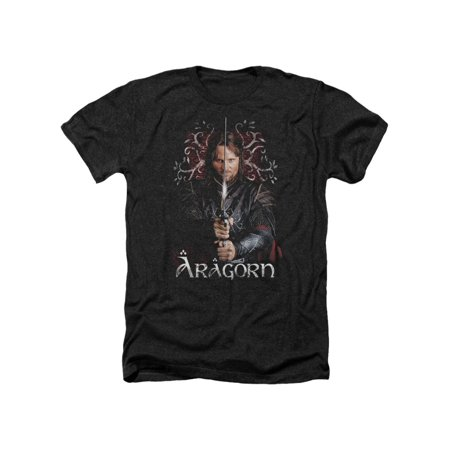 The Lord of The Rings Movie Aragorn Stare with Sword Adult Heather T-Shirt Tee