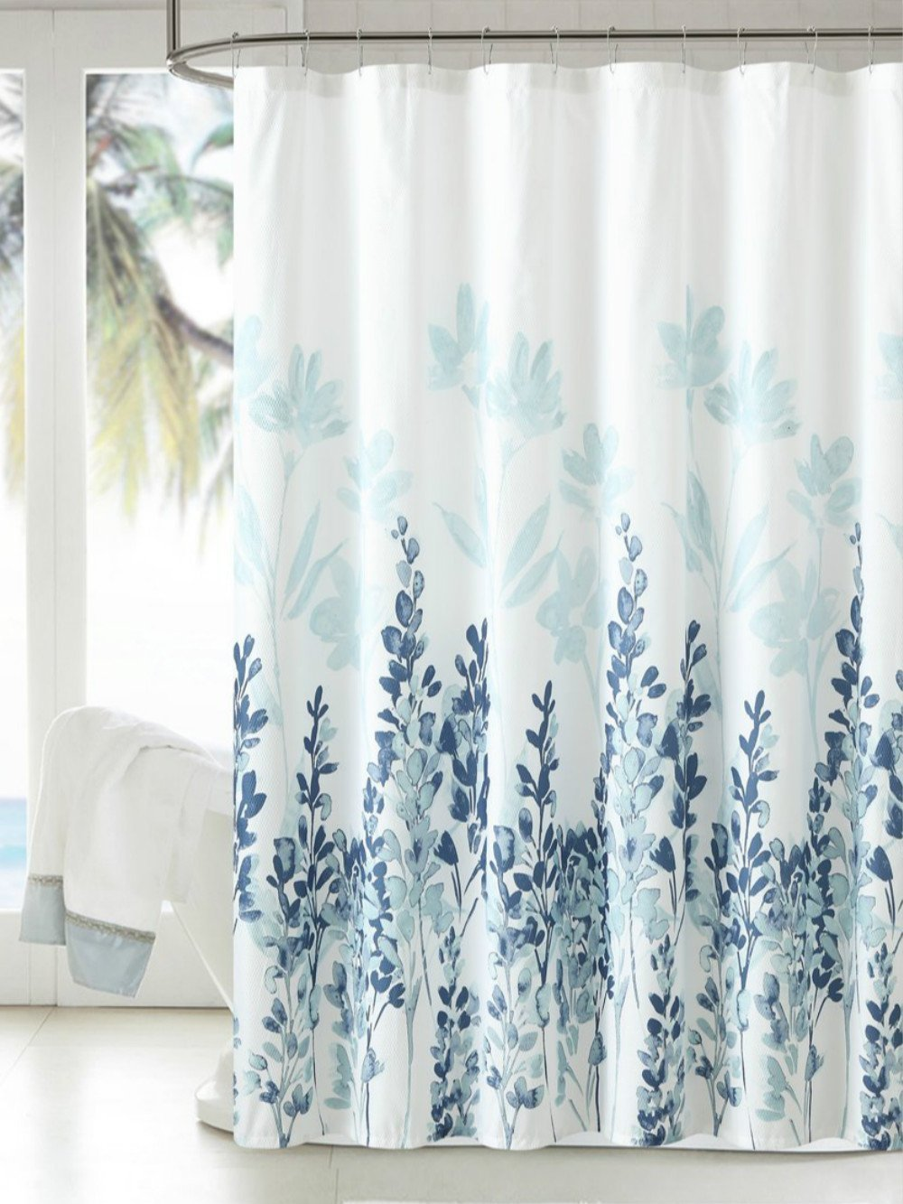 Tayyakoushi Japanese Style Flowers Shower Curtain Liner Fabric Shower Curtain Waterproof Polyester Bathroom Curtain With 12 Hooks Teal Blue 72 X
