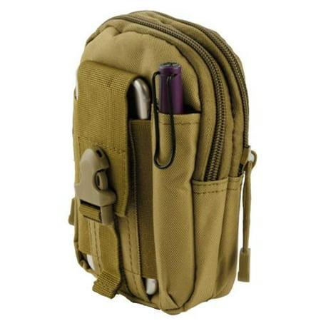 Heavy Duty Canvas Sports Activity Waist Pack Pocket Belt for HTC U11, U11+, U11 Life, U Ultra, U Play, 10, Bolt, 10 evo, One, One Max, One M8 M9 (Khaki) + MND Mini