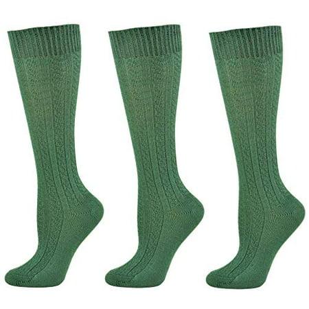 Sierra Socks Womens Girls School Uniform Cotton Cable Knit Knee High True ribbed 3 Pair Pack (Hunter, Medium)