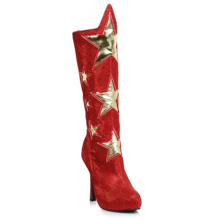 Red Women's Superhero Star Boots Halloween Costume Accessory