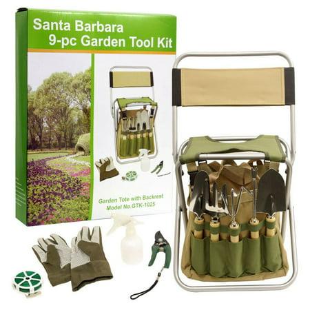 Picnic pack santa barbara 9 piece garden tool set for Gardening tools walmart