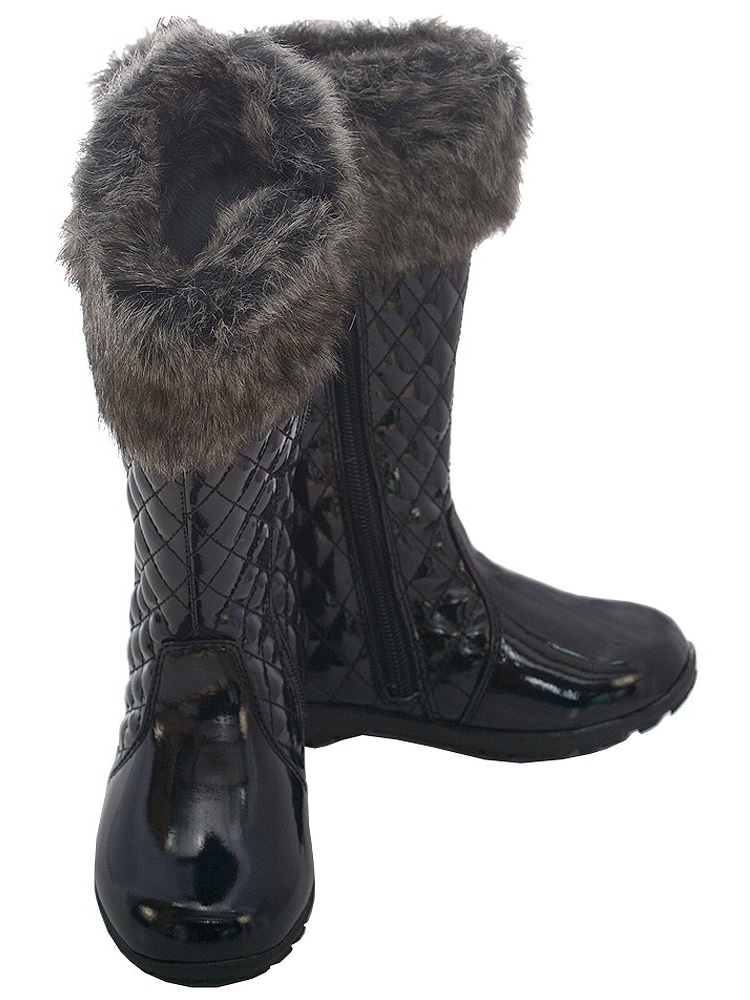 L'Amour Black Quilted Patent Faux 11-4 Fur Fashion Boot Girl 11-4 Faux f50c17
