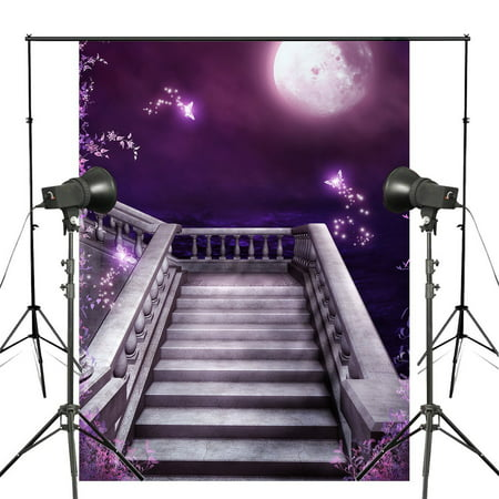 HelloDecor Polyster 7x5ft Dreamlike Purple Photography Backdrop Butterfly Moon Background Studio Props Wall Photo Stone Stairs Backdrop - Stone Wall Background