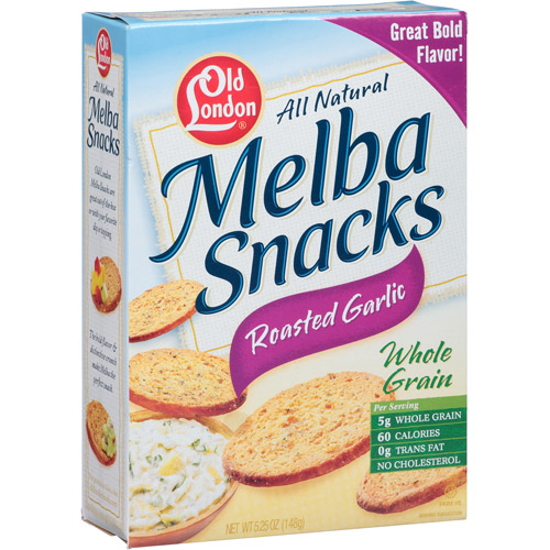 Old London All Natural Roasted Garlic Whole Grain Melba Snacks, 5.25 (Pack of 12)