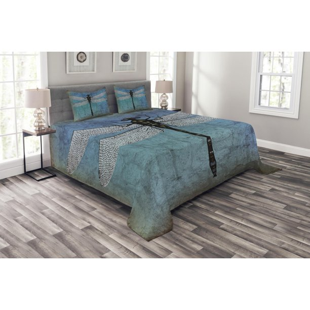 Dragonfly Bedspread Set Grunge Vintage Old Backdrop And Dragonfly Bug Ombre Image Decorative Quilted Coverlet Set With Pillow Shams Included Dark Blue Turquoise And Black By Ambesonne Walmart Com Walmart Com