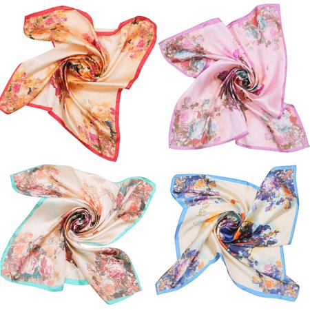 4Pcs Square Scarf Stylish Dots Floral Printed Silk Neckerchief Neck Scarf for Women