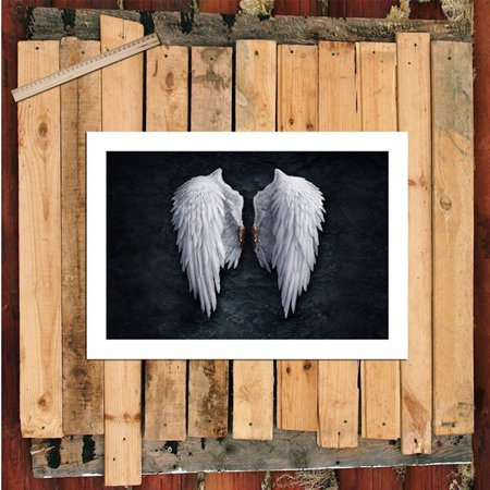 Angels Stretched Canvas - Abstract Canvas Wall Art of Angel Wings Painting White Art Artwork Wall Decor Modern Stretched and Painting Canvas the Picture For Living Room Decoration Unframed, Black&White