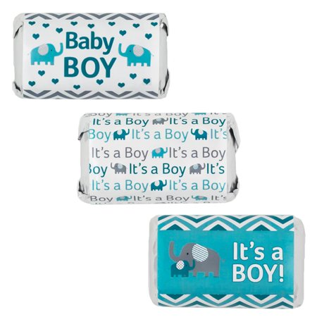 Teal Blue and Gray Elephant Boy Baby Shower Party Favor Stickers for Hershey's Miniatures Bars (Set of 54)