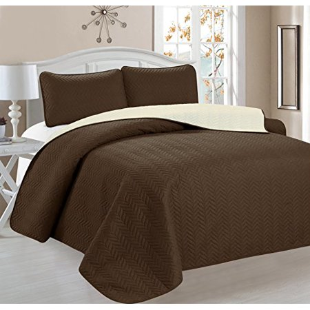 Home Sweet Home Dreams 3 Count Quilt, Chevron Design, Reversible, King, Brown/Beige ()