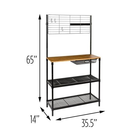 Honey Can Do 65-Inch Bakers Rack with Cutting Board and Hanging Storage, Black