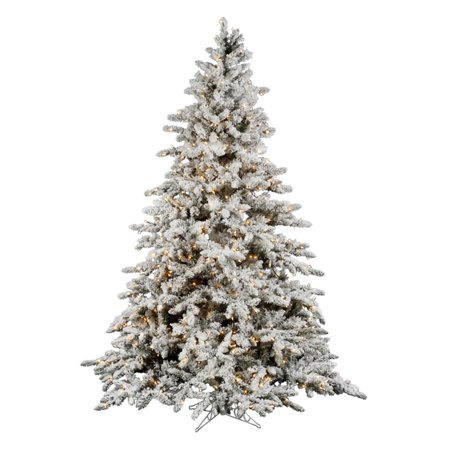 Vickerman Pre-Lit 9' Flocked Slim Utica Fir Artificial Christmas Tree, LED, - Vickerman Pre-Lit 9' Flocked Slim Utica Fir Artificial Christmas
