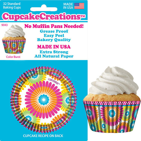 90432, Cupcake Creations, No Muffin Pan Required Baking Cups, Color Burst by