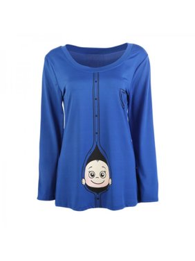 Lavaport Long Sleeve Maternity Tee Pregnant Casual T-shirts Tops