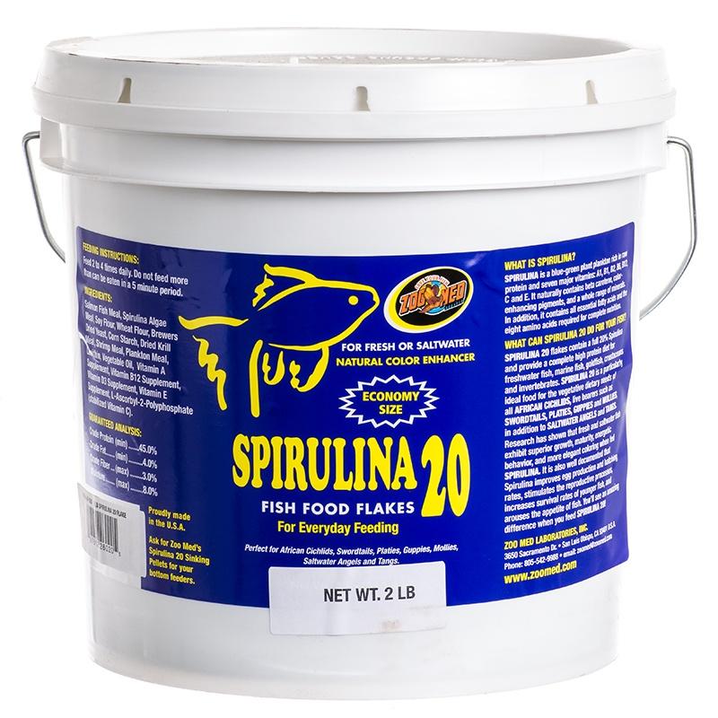 Zoo Med Aquatic Spirulina 20 Fish Food Flakes 2 lbs by
