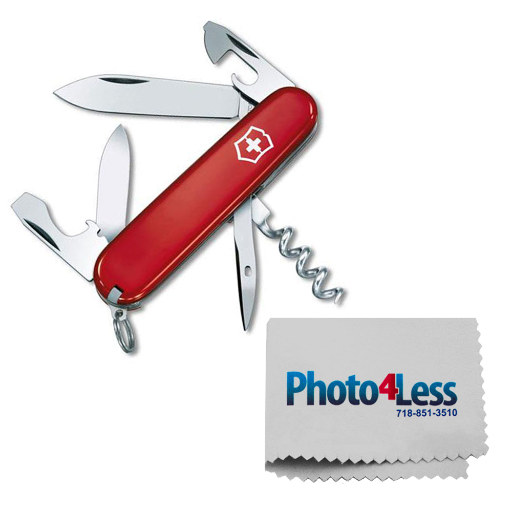 Victorinox Swiss Army Spartan Pocket Knife, Red + Photo4less Cleaning Cloth
