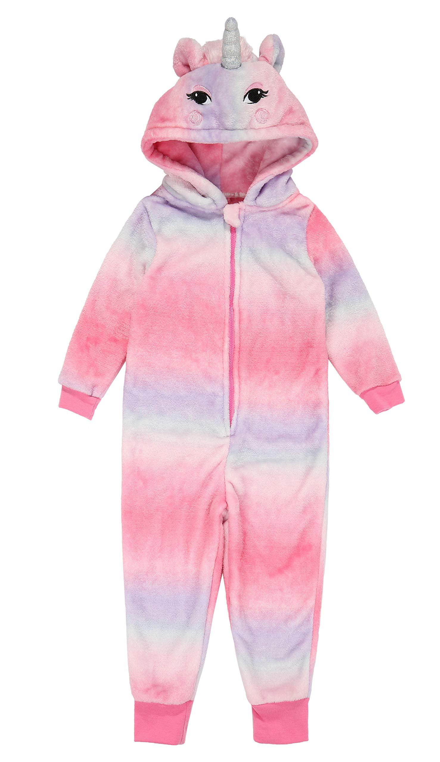 Children Animal Unicorn Multi-Color Rainbow Purple Cosplay Costume Pajamas Onesies Sleepwear(Deer 9-10Y)
