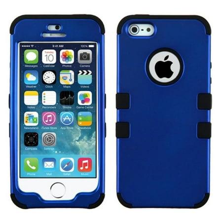 Insten Titanium Dark Blue/Black TUFF Hybrid Rugged Shockproof Phone Hard Snap-On Case For APPLE iPhone SE 5S