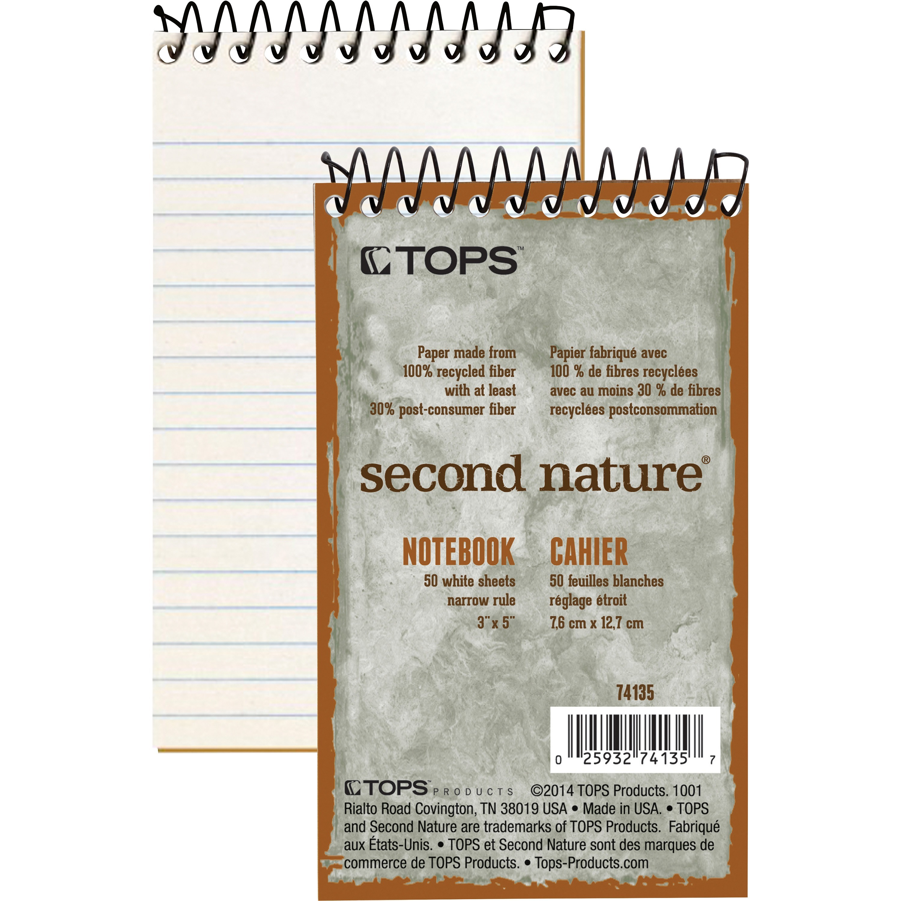 TOPS, TOP74135, Second Nature Narrow Ruled Notebooks, 1 Each