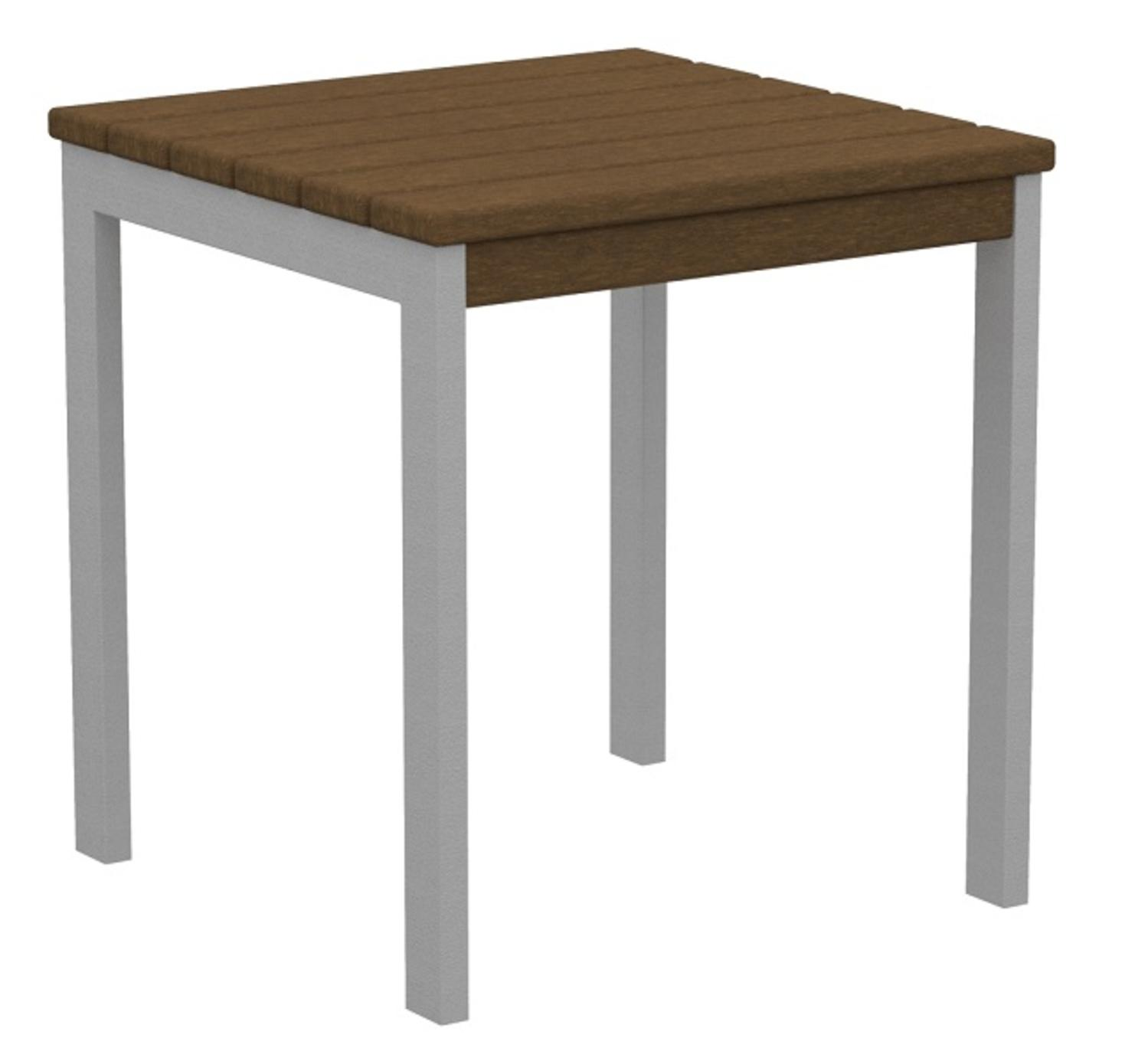 "18"" Recycled Earth-Friendly Square Side Table - Teak Brown with Silver Frame"
