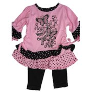 Baby Girls Pink Butterfly Applique Dotted 2 Pc Leggings Set 12-24M