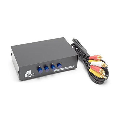 4 Way AV Switch by THE CIMPLE CO | 4 Input 1 Output RCA Selector Switch for Composite Audio and Video | Switcher Box | Includes RCA Composite Cable -