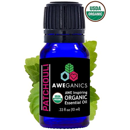 Aweganics Pure Patchouli Oil USDA Organic Essential Oils, 100% Pure Natural Premium Therapeutic Grade, Best Aromatherapy Scented-Oils for Diffuser, Home, Office, Personal Use - 10 ML - MSRP