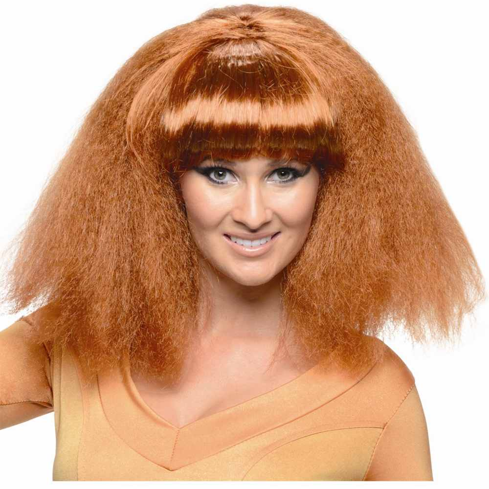 Adult Womens Brown Go Disco 70s Wavy Costume Accessory Wig