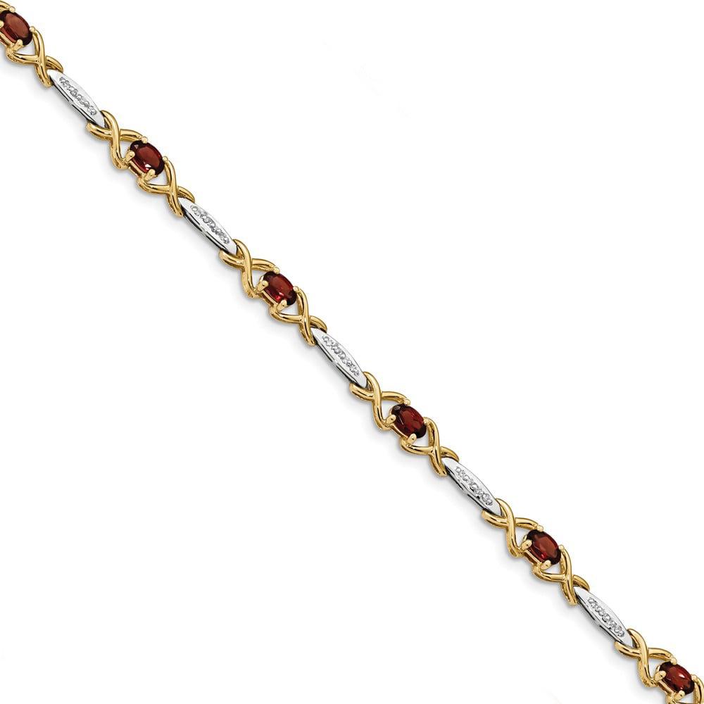 14k Yellow Gold Diamond and Garnet Bracelet 7.25inch by Diamond2deal