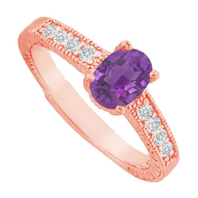 Fine Jewelry Vault UBNR82898AGVR9X7CZAM Amethyst & Cubic Zirconia Prong Set Ring in Rose Gold Vermeil, 4 Stones by Fine Jewelry Vault
