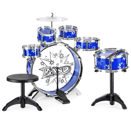 Best Choice Products 11-Piece Kids Starter Drum Set w/ Bass, Tom Drums, Snare, Cymbal, Stool, Blue Blue Snare Drum