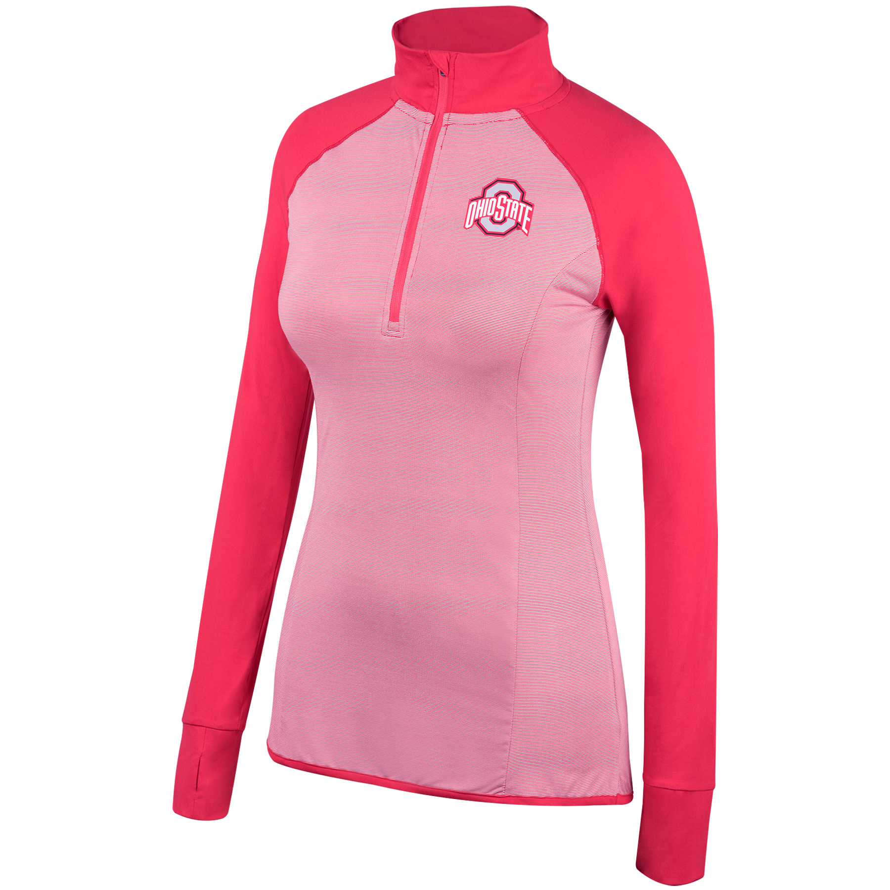 Women's Scarlet Ohio State Buckeyes Embark Raglan Half-Zip Pullover Jacket
