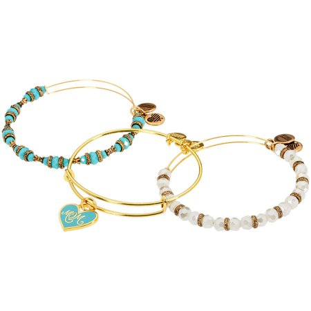 Mom Bangle Bracelet (Color Infusion Set of Three Mom Shiny Gold Bangle)