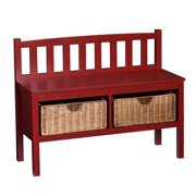 Harper Blvd  Red Bench with Storage Baskets