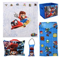 Super Mario 5-Piece Kids Bedroom Set with Pillows, Blanket, Storage and Wall Tapestry